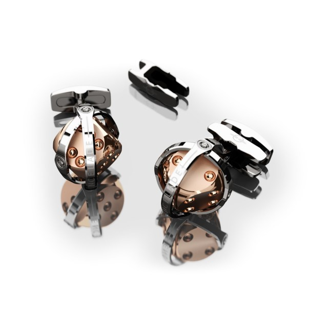 Encelade 1789 Dice Cufflinks + Clip // Stainless Steel + Rose Gold