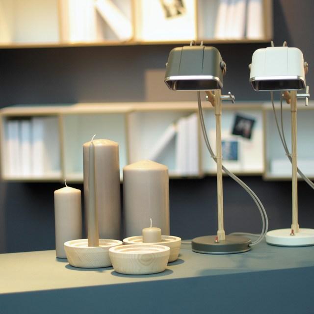 SWAB Design Mob Wood Table Lamp in Grey & Beige Cord