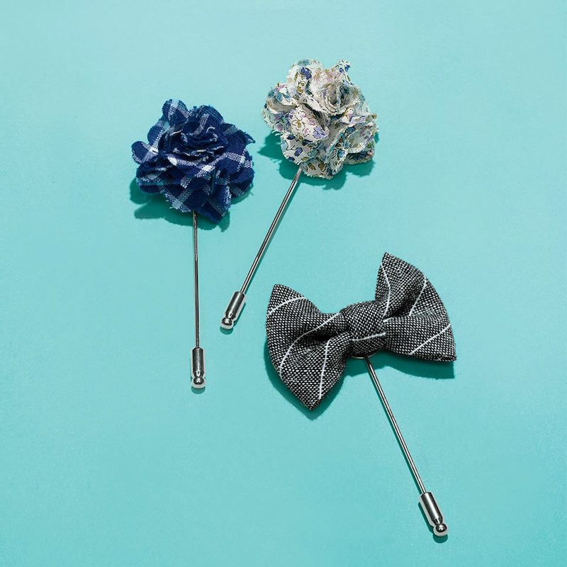 Saks Fifth Avenue Collection Pinstripe Bow Tie Lapel Pin