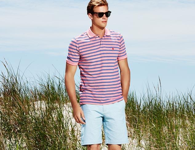 IZOD Short Sleeve Feeder Stripe Oxford Pique Polo