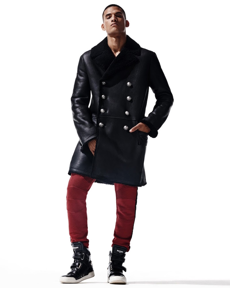 Balmain Leather & Shearling Double-Breasted Coat