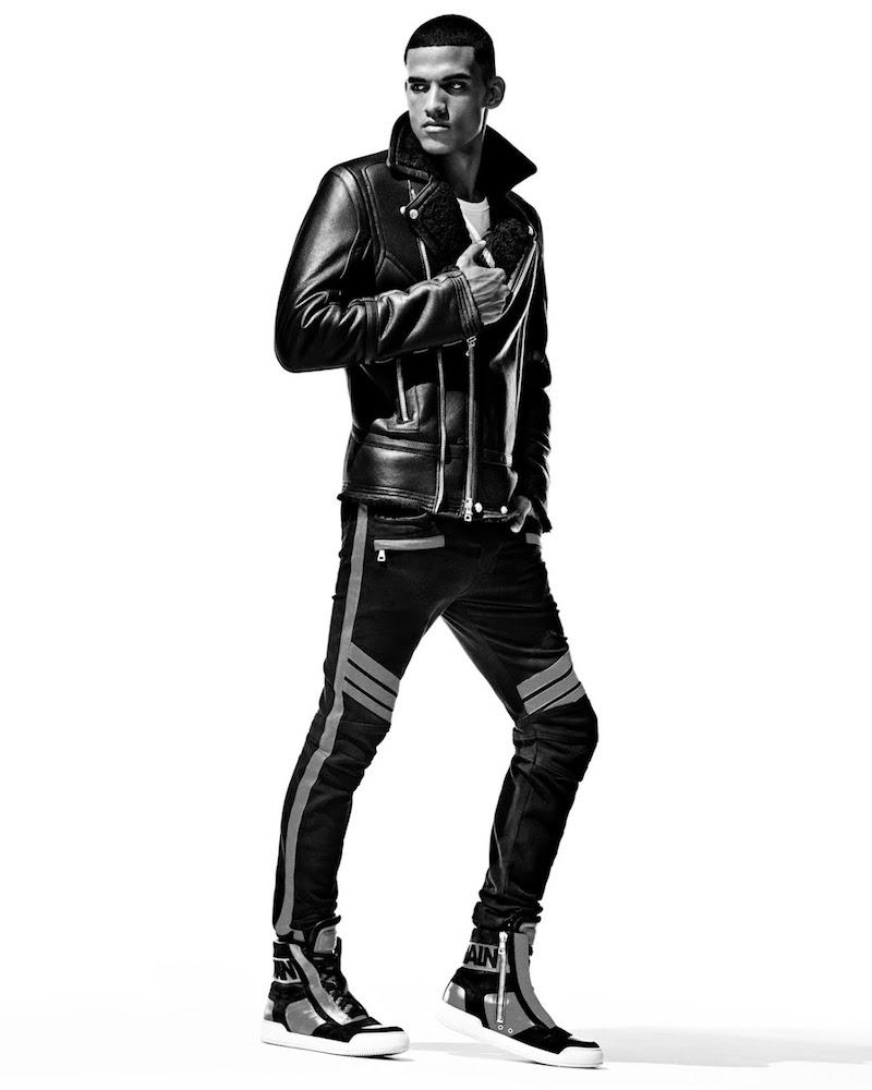 Balmain Shearling-Lined Leather Perfecto Jacket