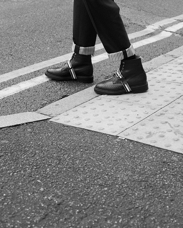 Thom Browne Pebbled Leather Wingtip Brogue Boots
