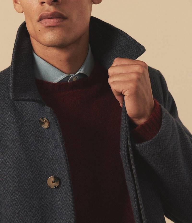 ISAIA San Gennaro Herringbone Cashmere Topcoat