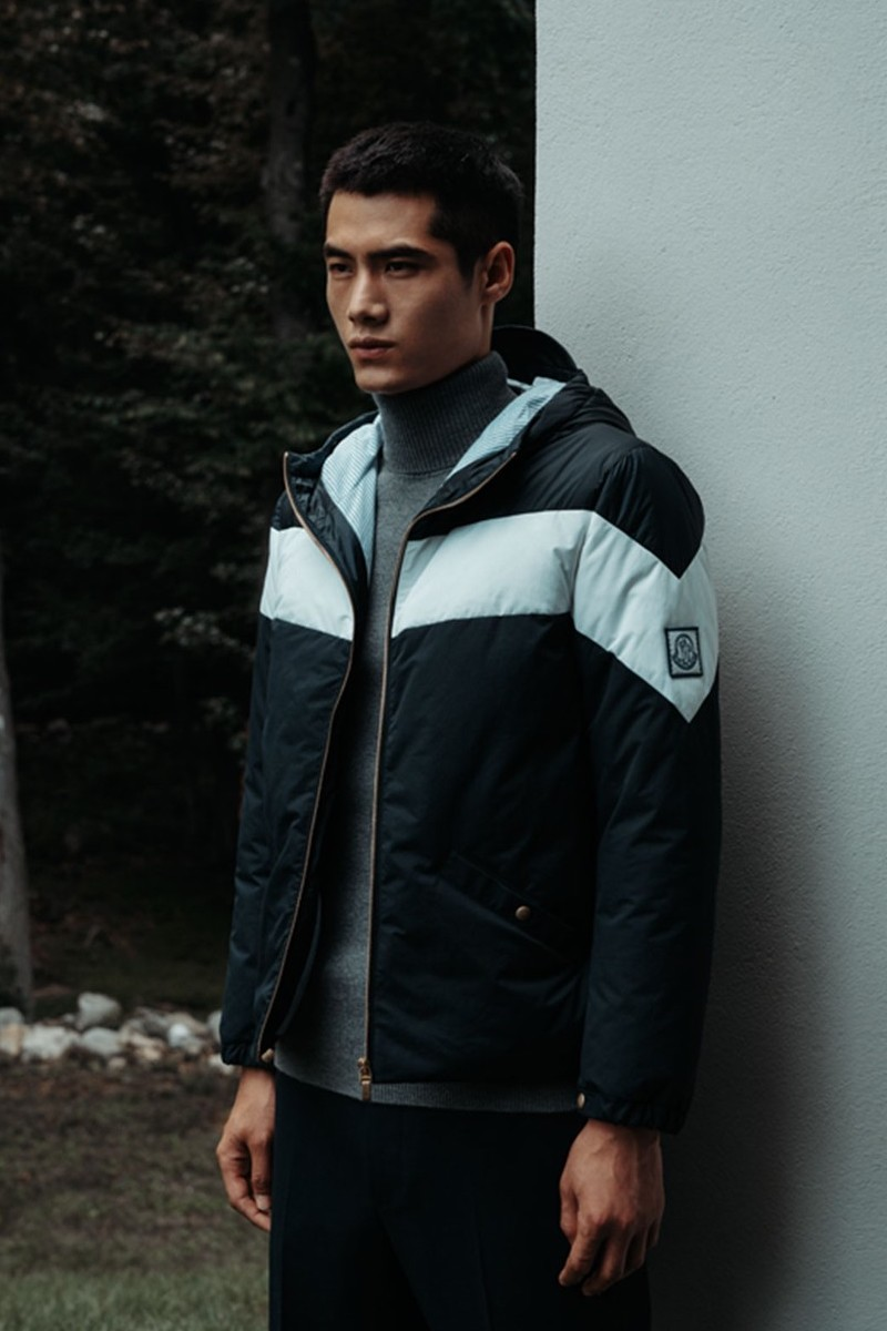 Moncler Gamme Bleu Contrast Stripe Hooded Down Jacket
