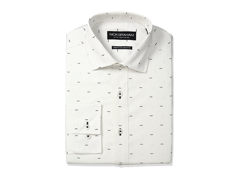 Nick Graham Mustache Print Cotton Dress Shirt