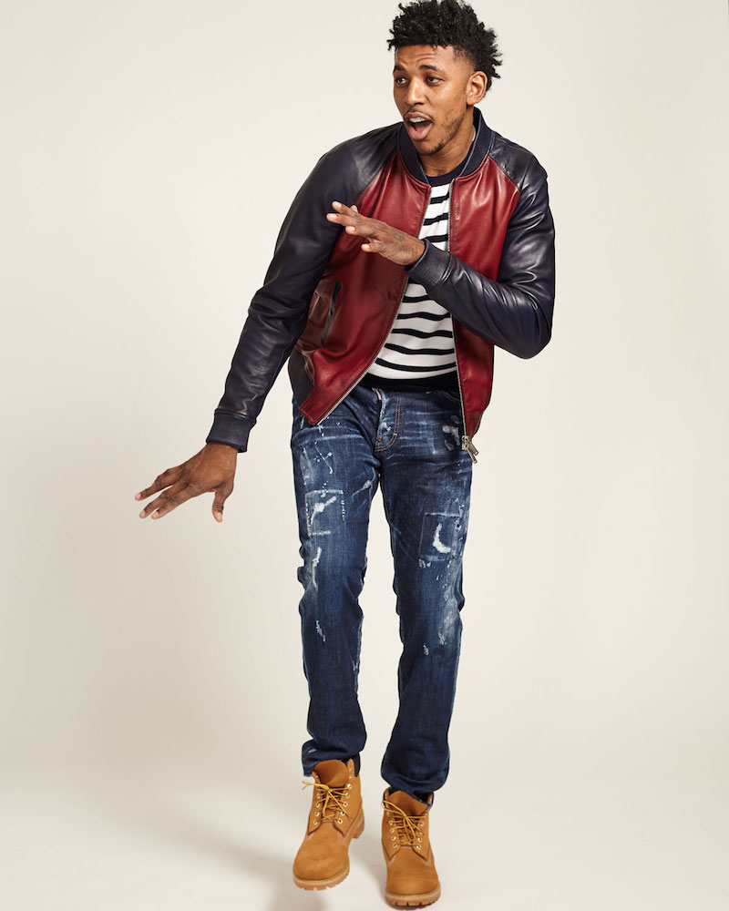 Dsquared2 Colorblock Leather Bomber Jacket
