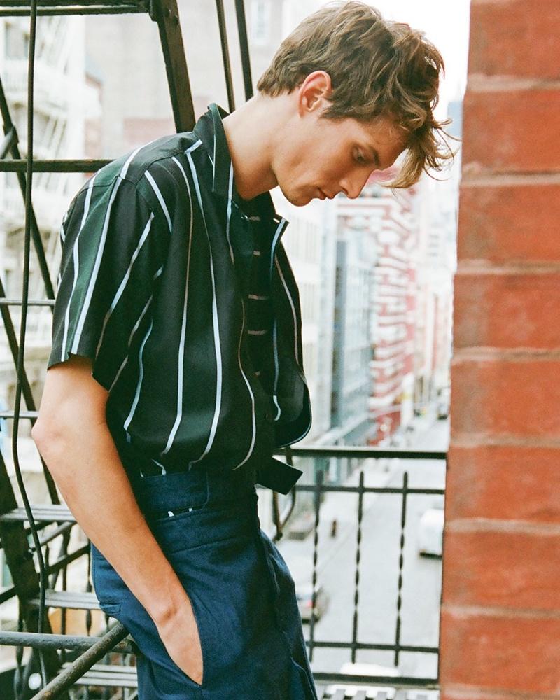 AMI Short-Sleeved Striped Cotton-Blend Shirt