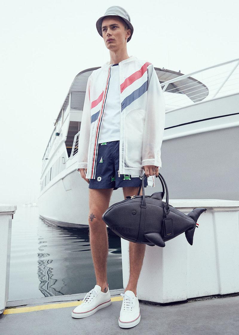 Thom Browne Diagonal Stripe Packable Rain Coat