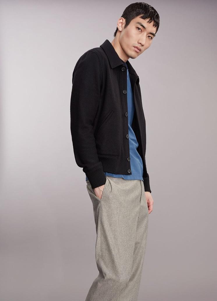 AMI Point Collar Wool-Blend Bomber Jacket