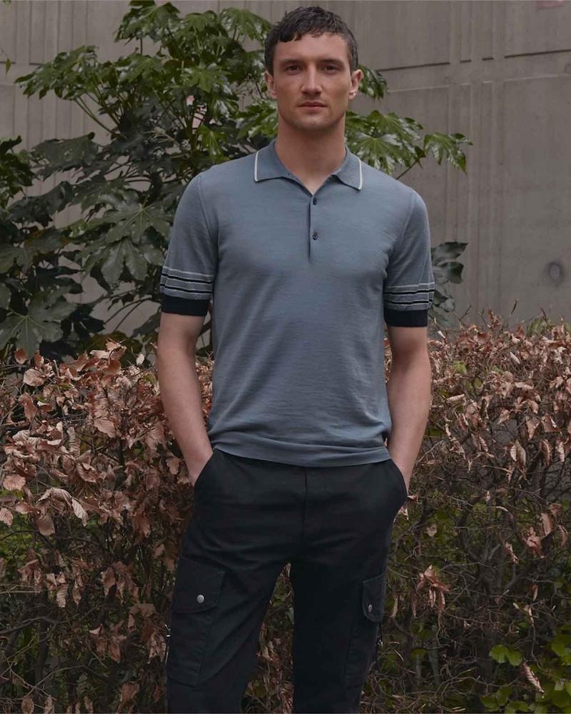 Lanvin Striped-Collar Knit Polo Shirt