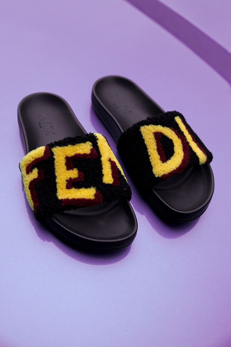Fendi Logo Patchwork Shearling Slide Sandals