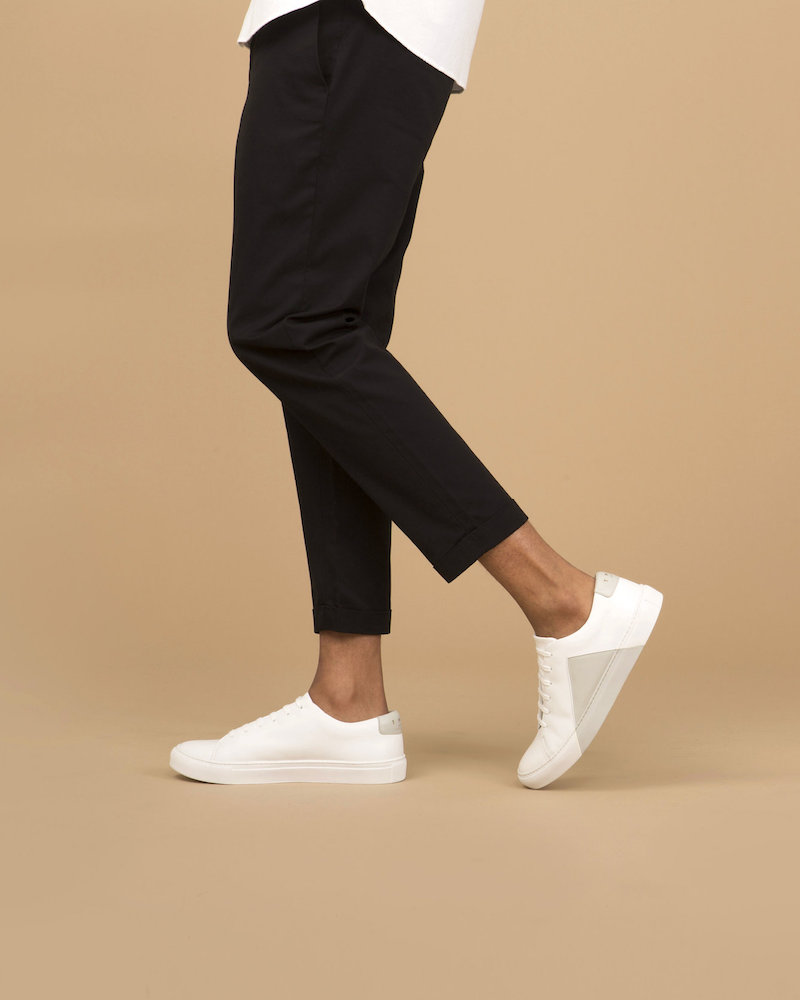 THEY New York Triangle Low Sneakers in White-Beige