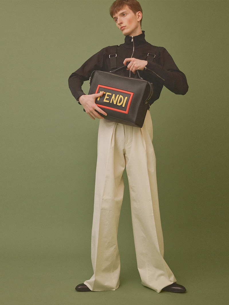 Fendi Smooth Leather Bag with Logo Patches