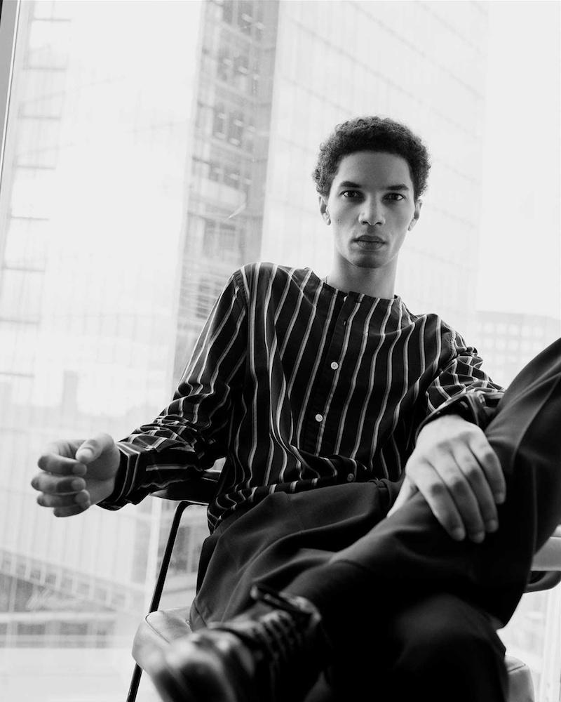 Saturdays NYC Pontus Striped Cotton Shirt