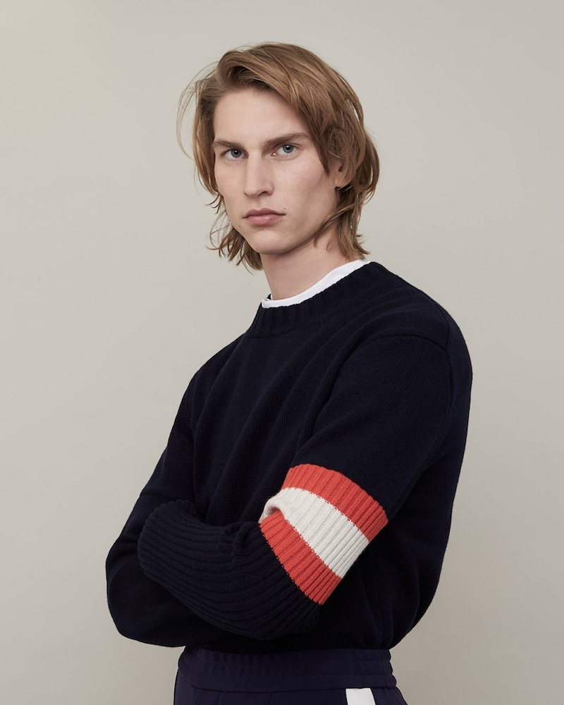 CALVIN KLEIN 205W39NYC Contrast-Sleeve Cashmere Sweater