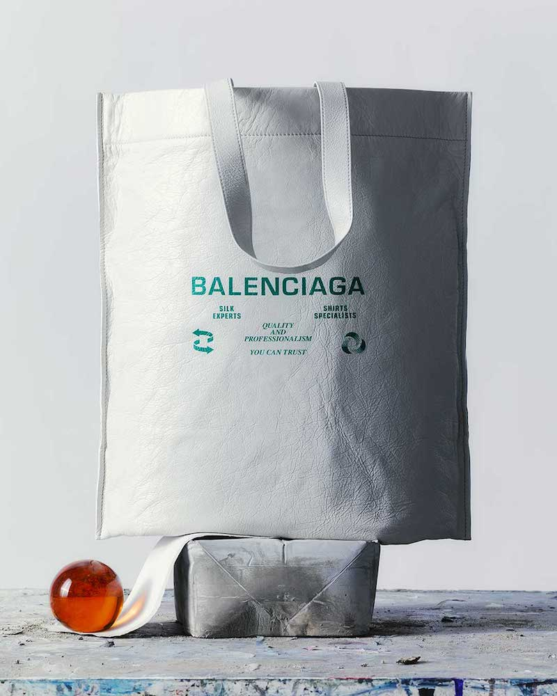 Balenciaga Recycle Sign Leather Tote