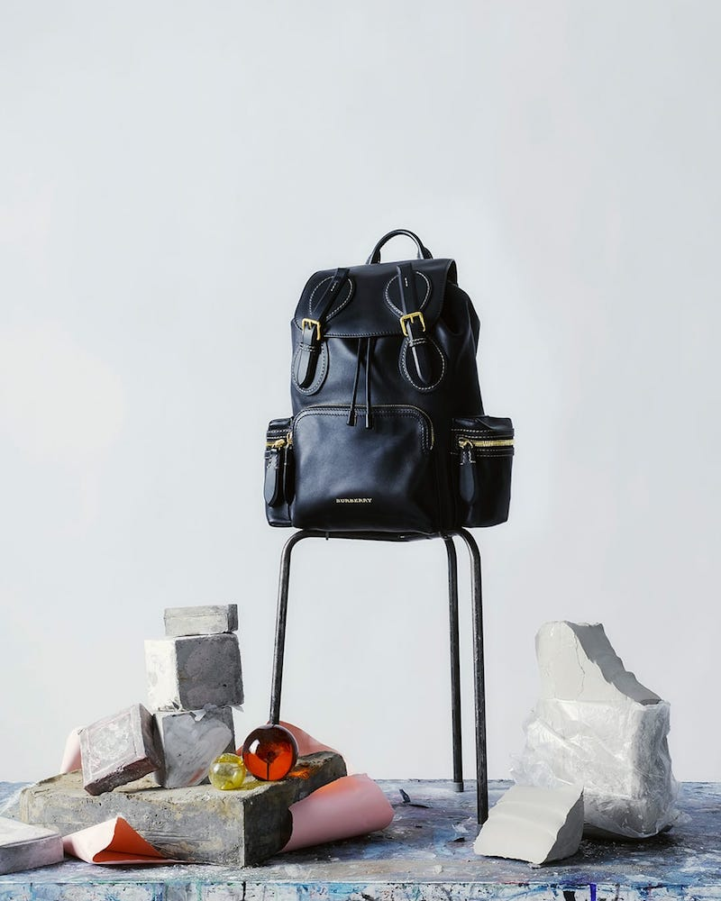 Burberry Contrast-Stitch Leather Backpack