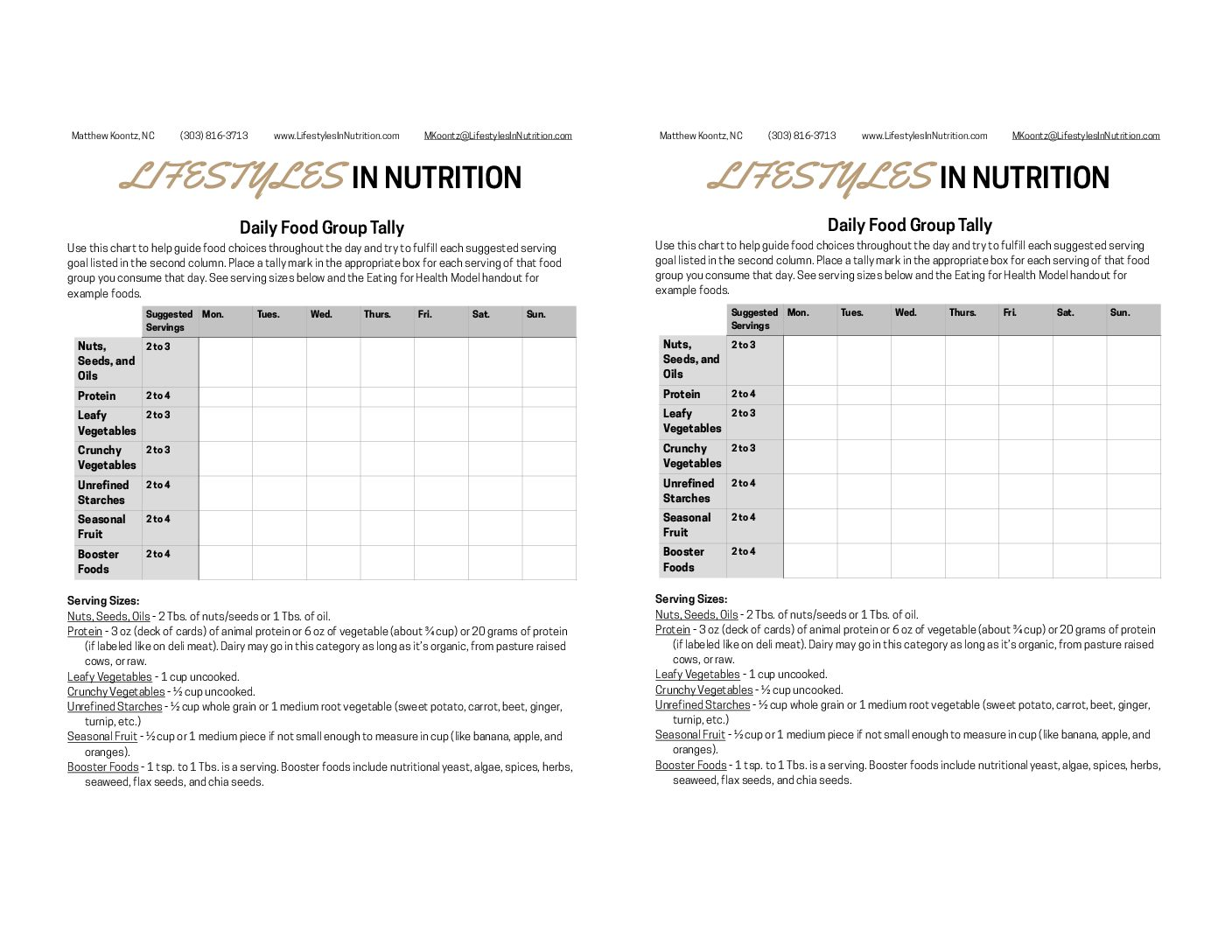 Weekly Eating For Health Food Group Tally Worksheet
