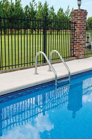 Pool side safety fence