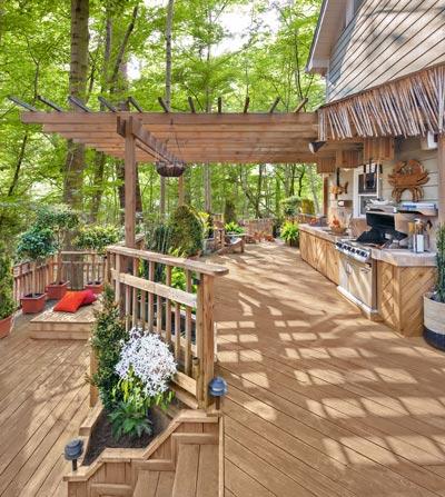 Tiered backyard deck