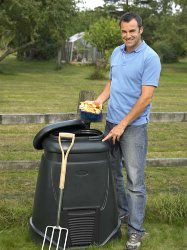 man using his composter