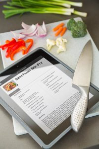 meal recipe on a tablet