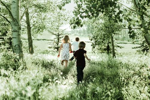 Kids running in nature