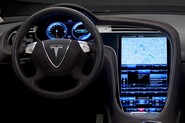 interior of a Tesla EV
