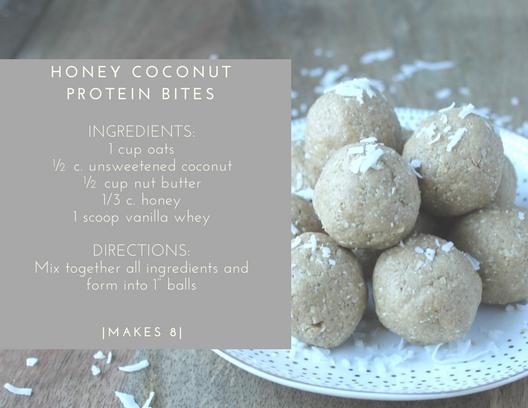 honey coconut protein bites