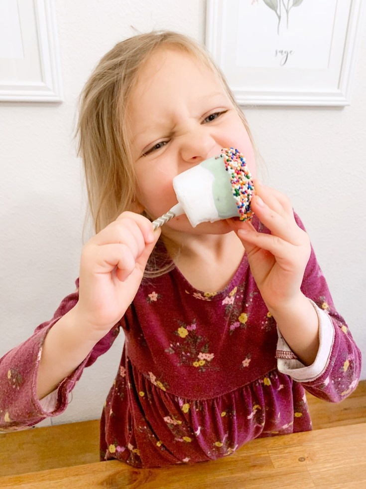 Rosie eating dessert