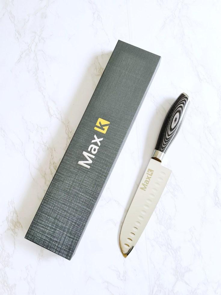 Max K 7-Inch Damascus Steel Santoku Knife