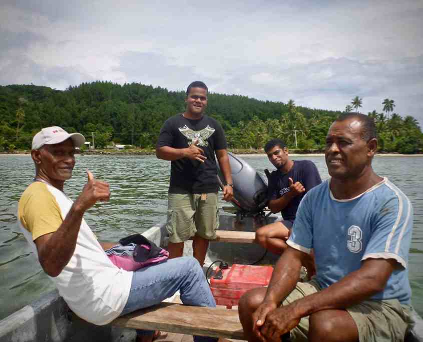 The boat and the four Fijian men who picked me up