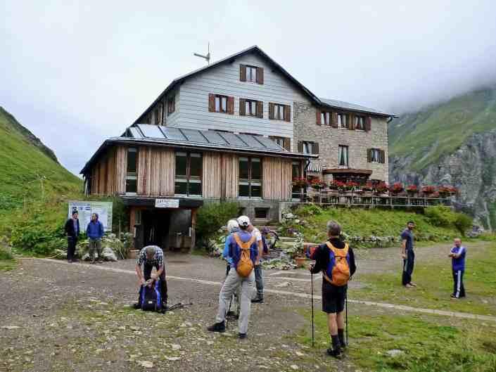 Arriving at the Kemptner hut at 1844 meters