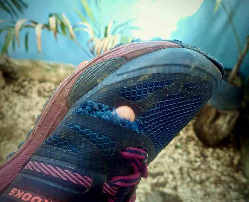 Just a normal day of bicycle touring - The result of a jungle detour: a ripped shoe!