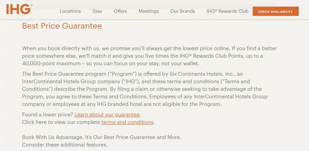 IHG rate guarantee