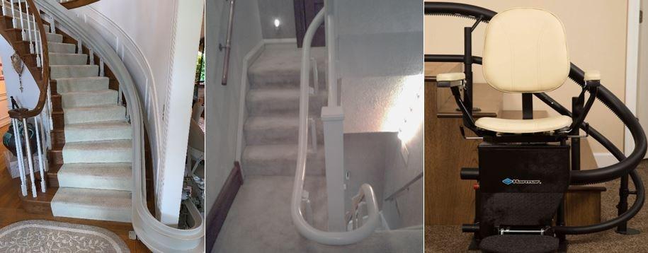 Which Curved Stair Lift Is Best Tube Rail Vs Flat Rail   Custom Handrails Near Me   Staircase   Ornamental Iron   Balusters   Glass   Deck Railing