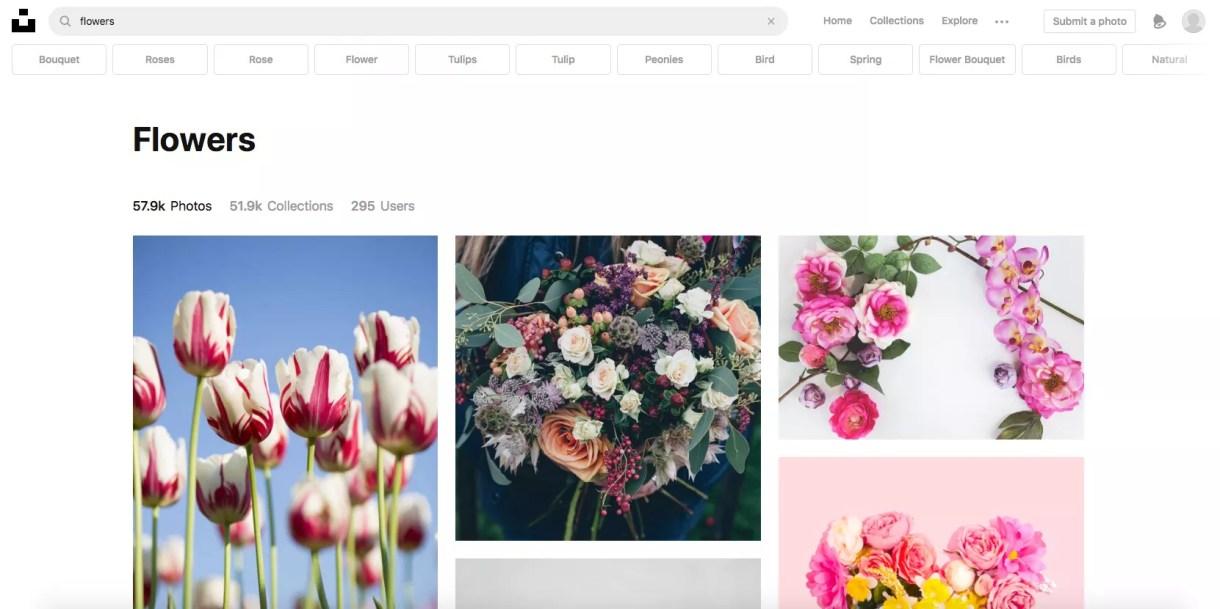 لقطة شاشة لموقع Unsplash.com.