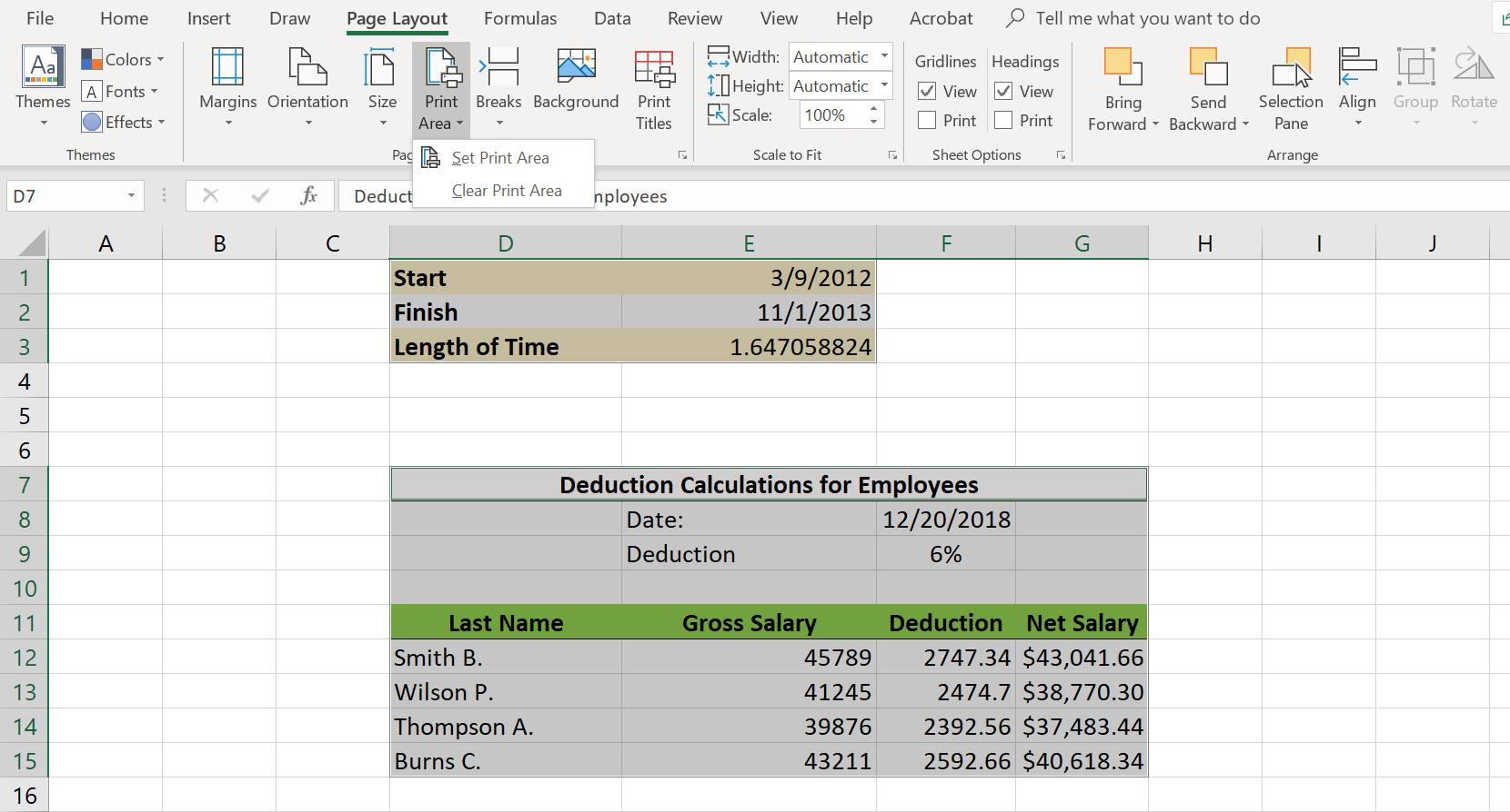 How To Set A Print Area In Excel