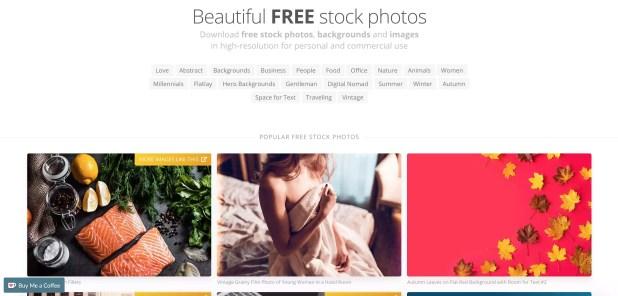 لقطة شاشة لموقع Picjumbo.com.