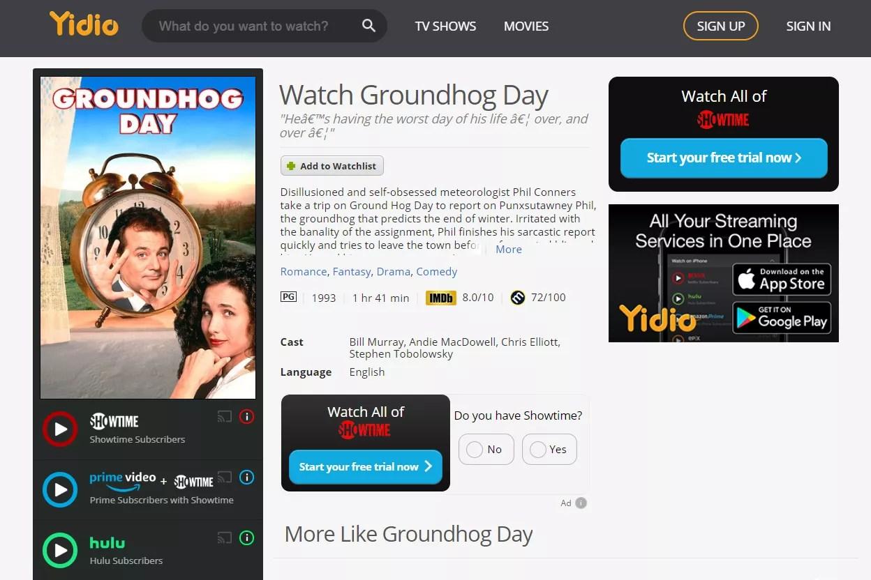 Groundhog Day free stream through Yidio