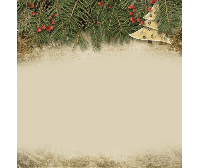 A Vintage Email Stationery Featuring Pine Branches Berries Pine Cones And A Muted