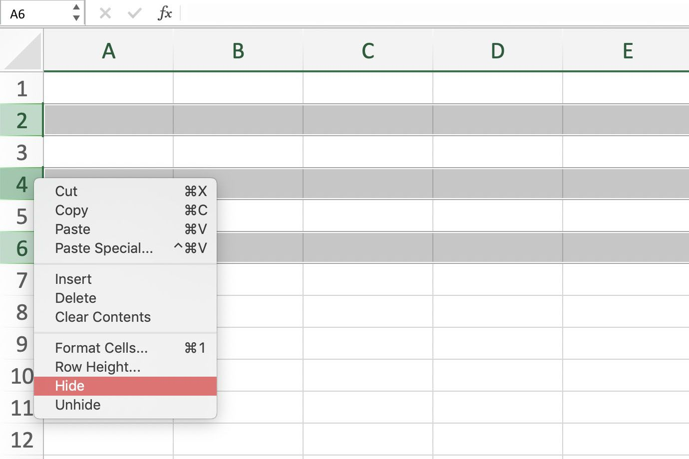 Hide And Unhide Columns Rows And Cells In Excel