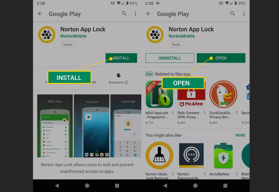 Install and Open buttons in Google Play for Norton App Lock