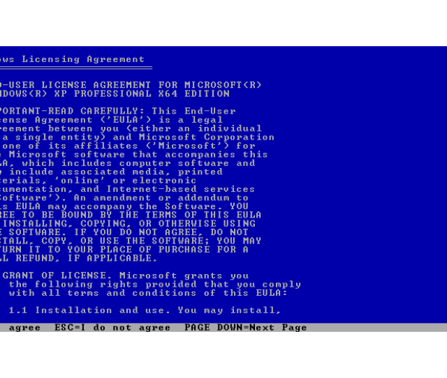 Screenshot Of The Windows Xp Licensing Agreement Page