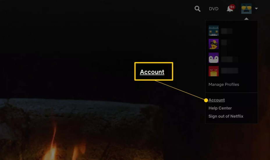 Account link on Netflix home page