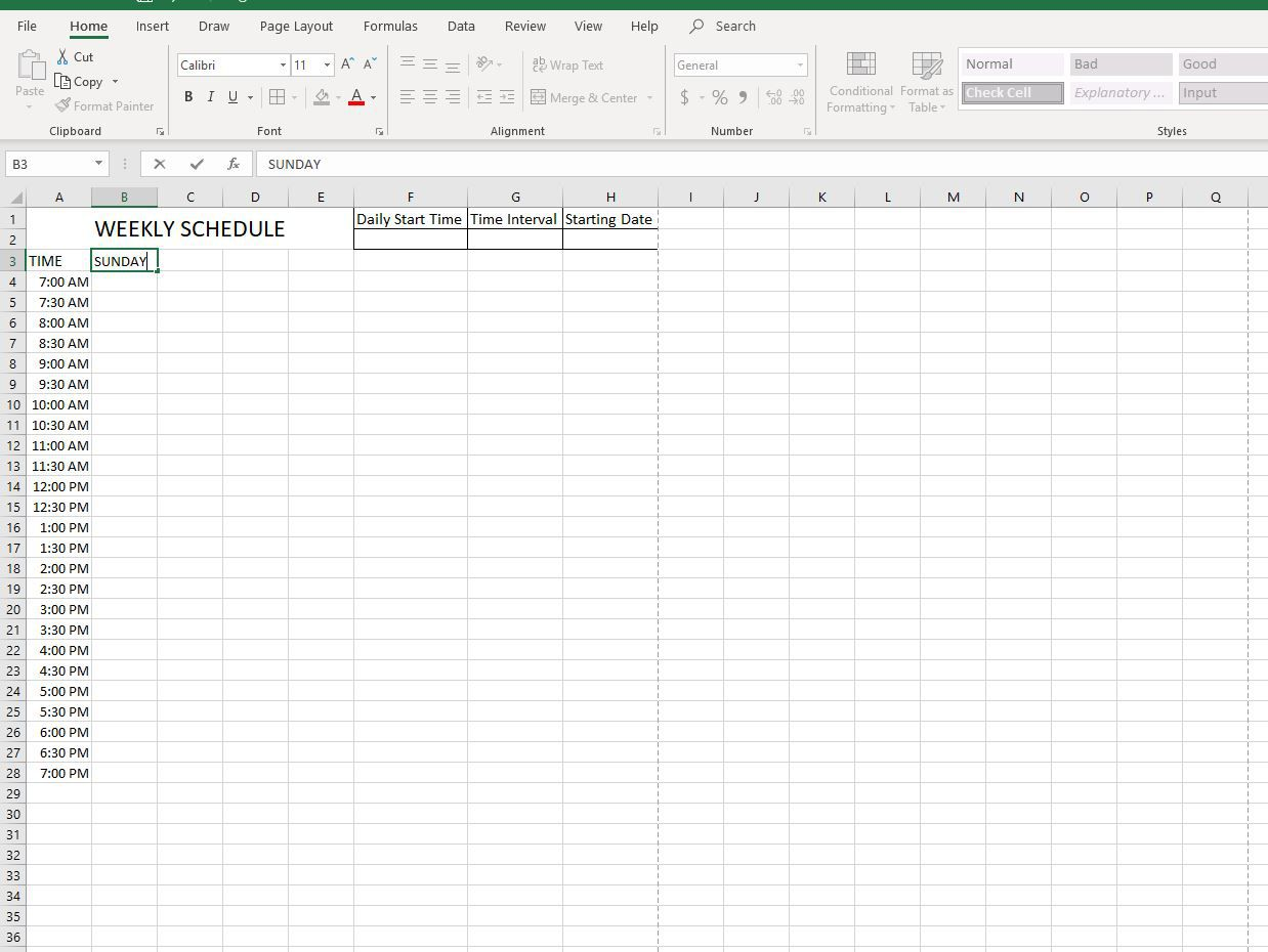 How To Make A Schedule In Excel