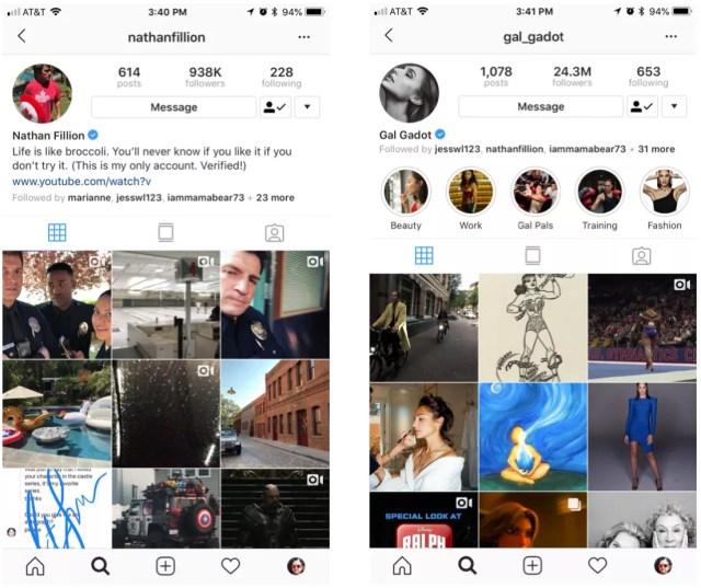 Capture d'écran des comptes Instagram de Nathan Fillion et Gal Gadot