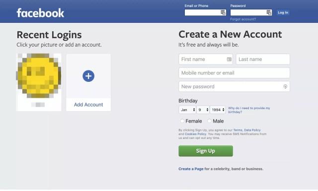 Page Web Facebook Nouveau compte