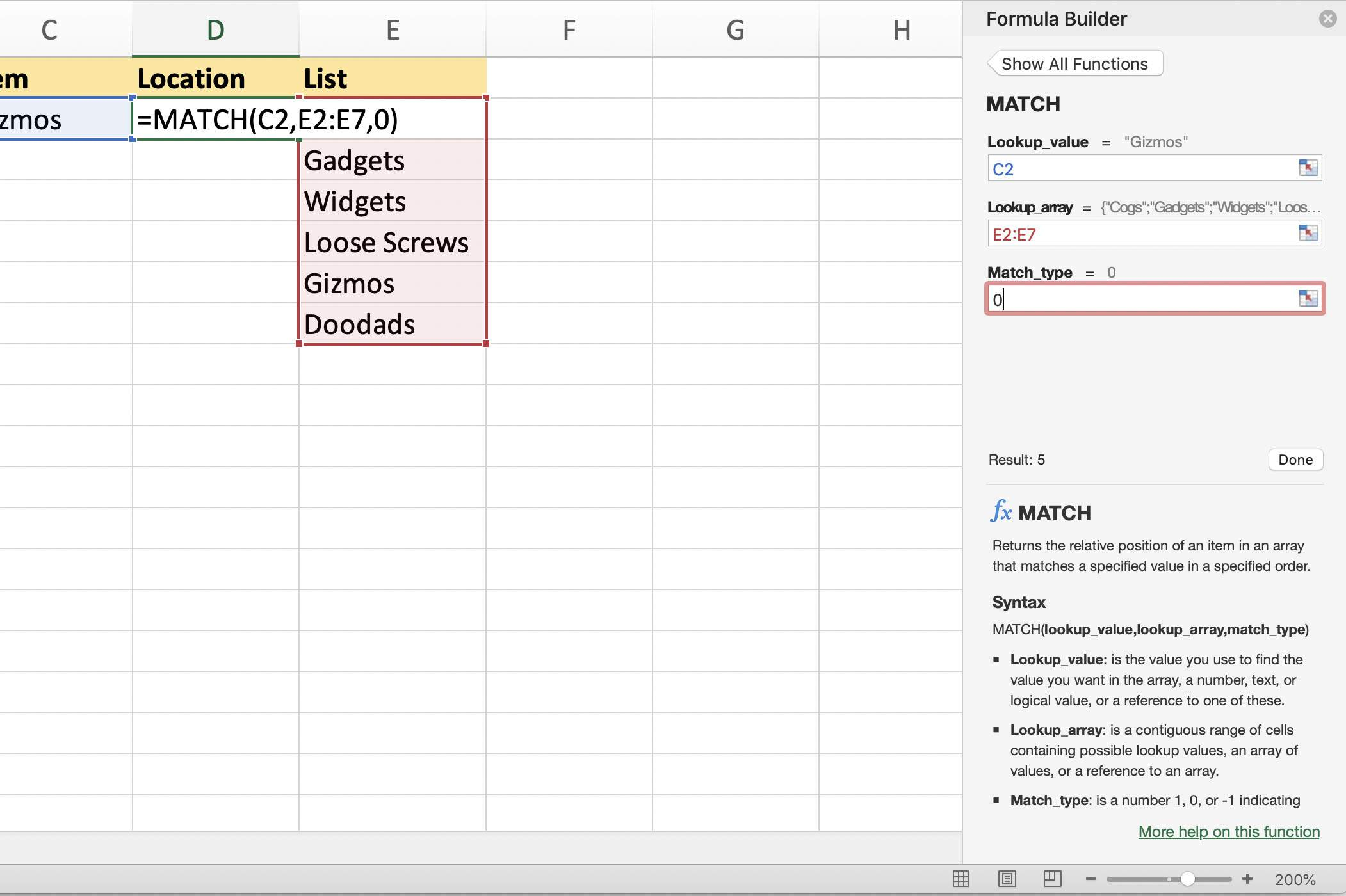Finding The Location Of Data With Excel S Match Function